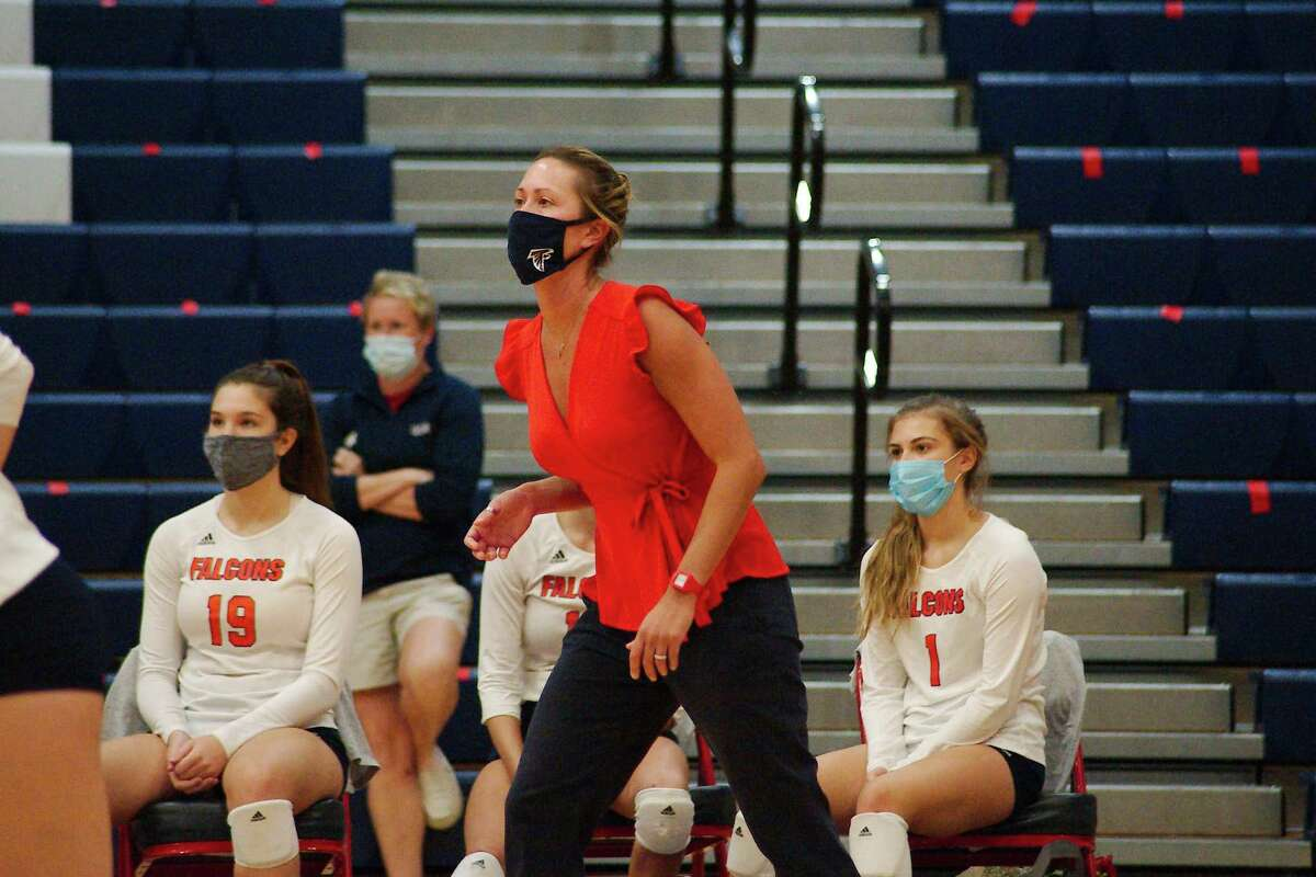 Clear Lake volleyball coach CiCi Anderson watches as the Falcons play Clear Brook Tuesday, Sep. 29 at Clear Lake High School.