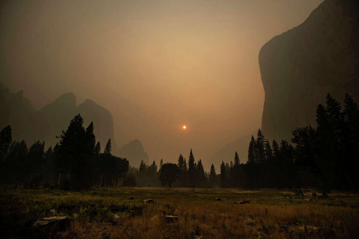 Thick smoke from multiple forest fires shrouds iconic El Capitan in Yosemite National Park.