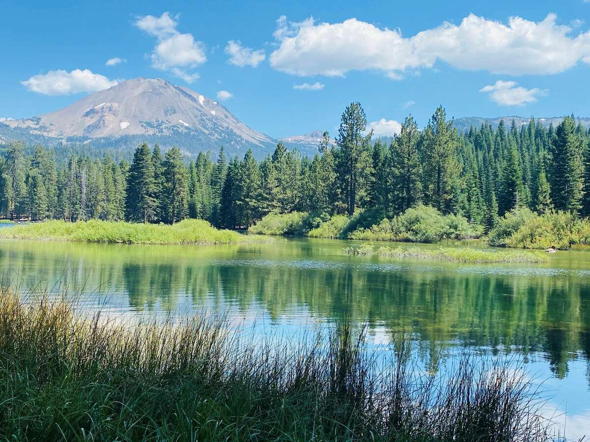 A view of Lassen Peak from Manzanita Lake.