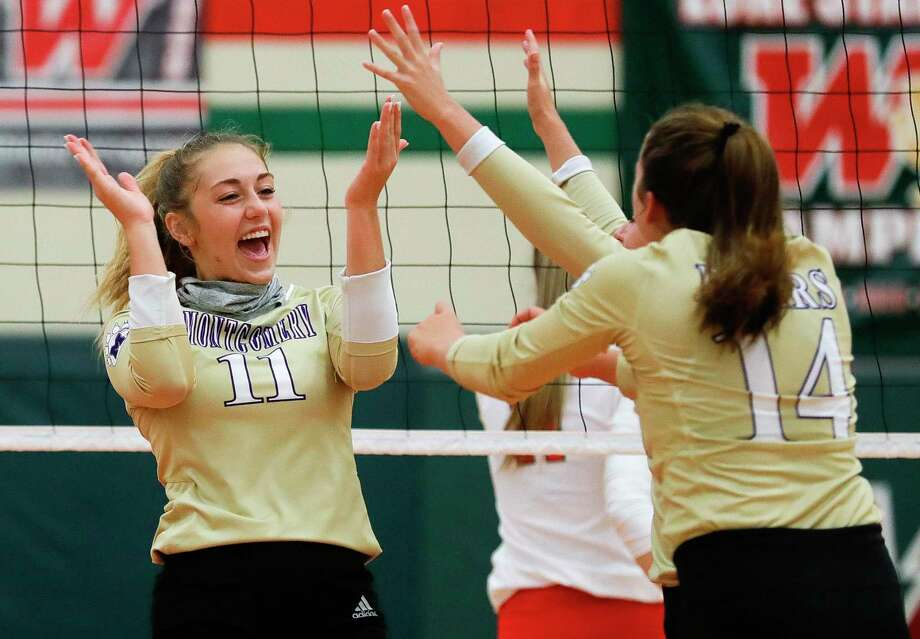 In this file photo, Montgomery middle blocker Abby Meador (11) reacts after blocking a shot during the third set of a non-district high school volleyball match at The Woodlands High School, Friday, Sept. 18, 2020, in The Woodlands. Photo: Jason Fochtman, Houston Chronicle / Staff Photographer / 2020 © Houston Chronicle