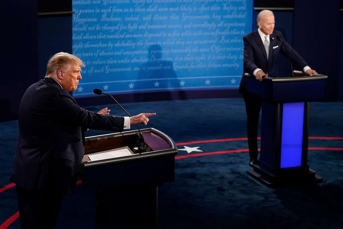 US President Donald Trump speaks during the first presidential debate at Case Western Reserve University and Cleveland Clinic in Cleveland, Ohio, on September 29, 2020. (Photo by Morry Gash / POOL / AFP) (Photo by MORRY GASH/POOL/AFP via Getty Images)