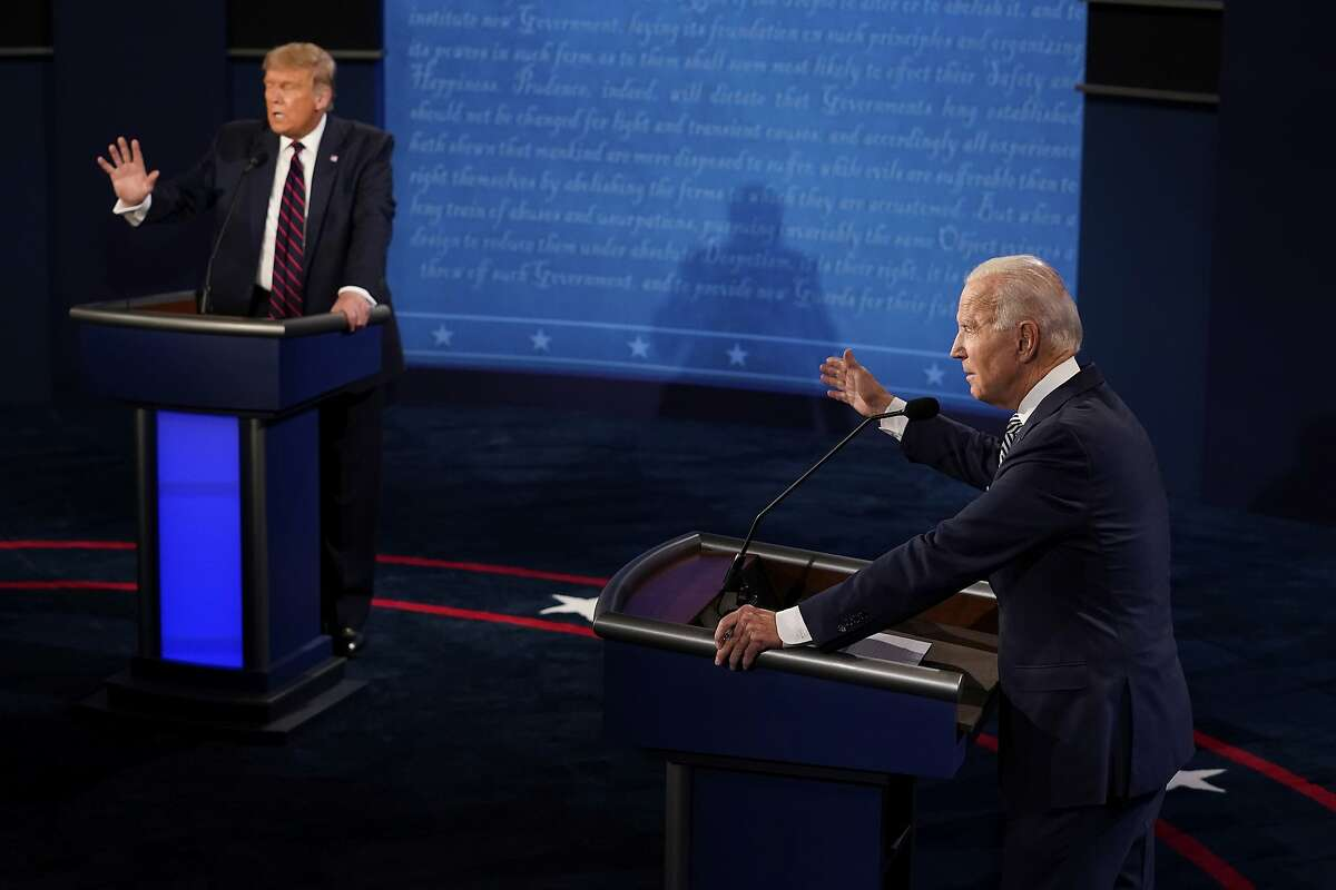 President Donald Trump and Democratic presidential candidate former Vice President Joe Biden exchange points during the first presidential debate Tuesday, Sept. 29, 2020, at Case Western University and Cleveland Clinic, in Cleveland, Ohio. (AP Photo/Morry Gash, Pool)