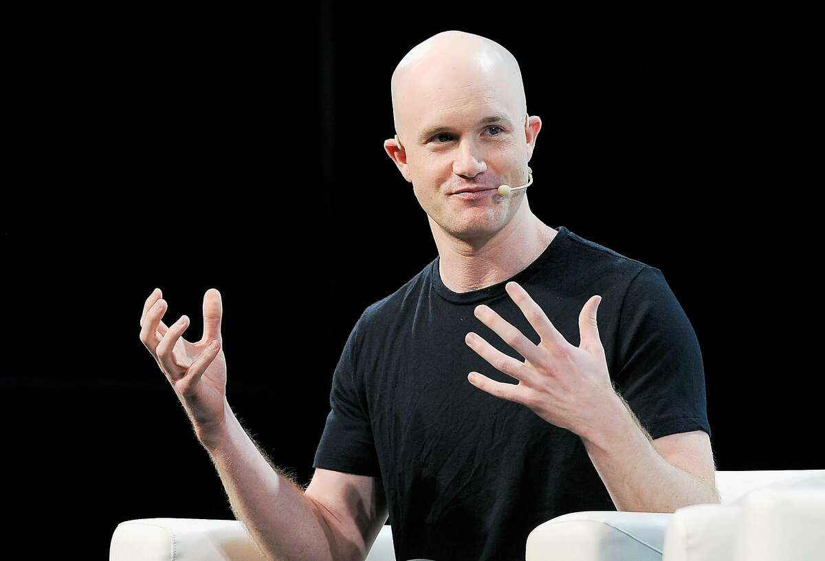 Coinbase CEO Brian Armstrong speaks onstage at TechCrunch Disrupt in 2018.
