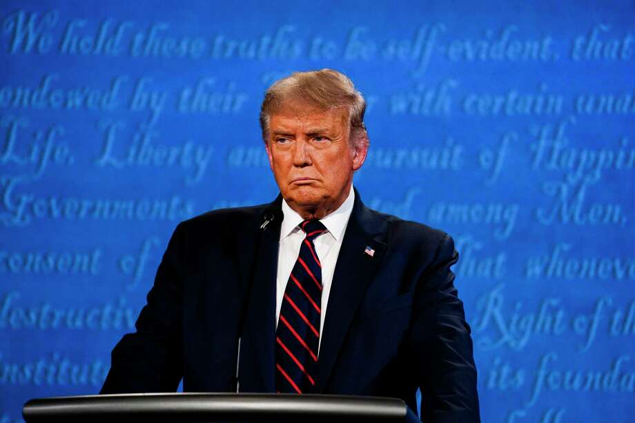 President Donald Trump participates in the first presidential debate with former vice president Joe Biden at Case Western Reserve University in Cleveland on Tuesday night. Photo: Washington Post Photo By Melina Mara / The Washington Post