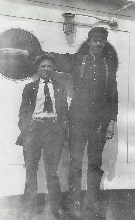 """Monty """"Shorty"""" VanBuren of Menominee, cabin watch, age 17, and Frank Jones of Frankfort, deck watch, age 18 on the A.A. #6. (Courtesy photo)"""