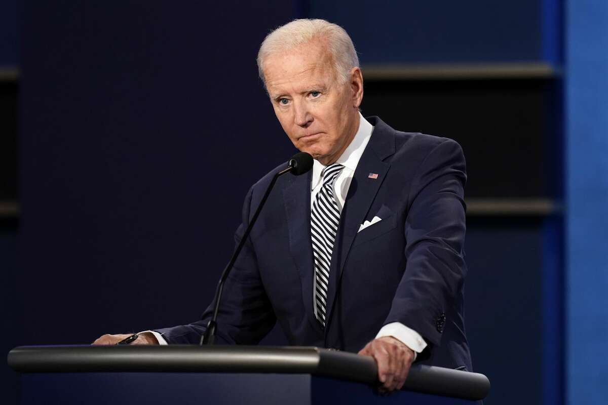 Democratic presidential candidate former Vice President Joe Biden listens during the first presidential debate with President Donald Trump Tuesday, Sept. 29, 2020, at Case Western University and Cleveland Clinic, in Cleveland, Ohio. (AP Photo/Patrick Semansky)