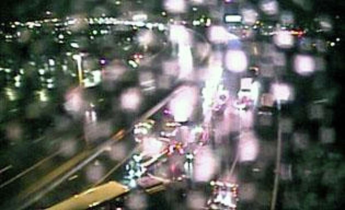 A traffic camera screenshot of I-95 south in Bridgeport, Conn., on Wednesday, Sept. 30, 2020.