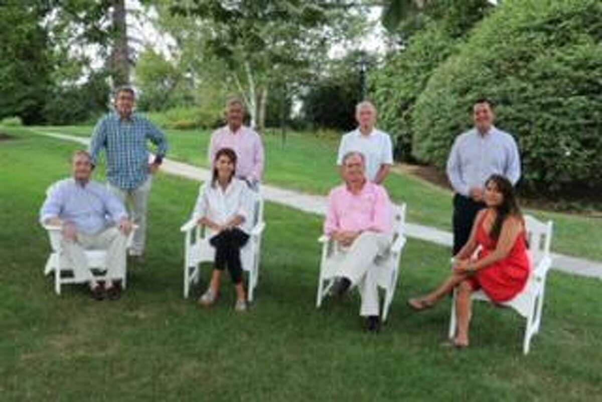 The New Canaan Recovery Corps has formed to help deal with substance abuse questions. Seated, from left, are Stephanie Hazard, RCP; Andrew Hersam, RCP; Jacqueline Calayag, RCP. Standing are Doug Hurwitt; Jack Claydon; Chappy LeBlond, Sr; and Brian Nash, RCP. Lesley Hartnett, RCP, is also with the program.