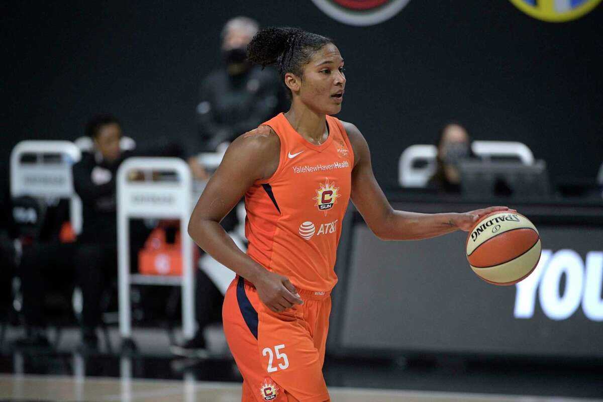 Connecticut Sun forward Alyssa Thomas runs a play during Game 5 of a semifinal round playoff series against the Las Vegas Aces on Tuesday.