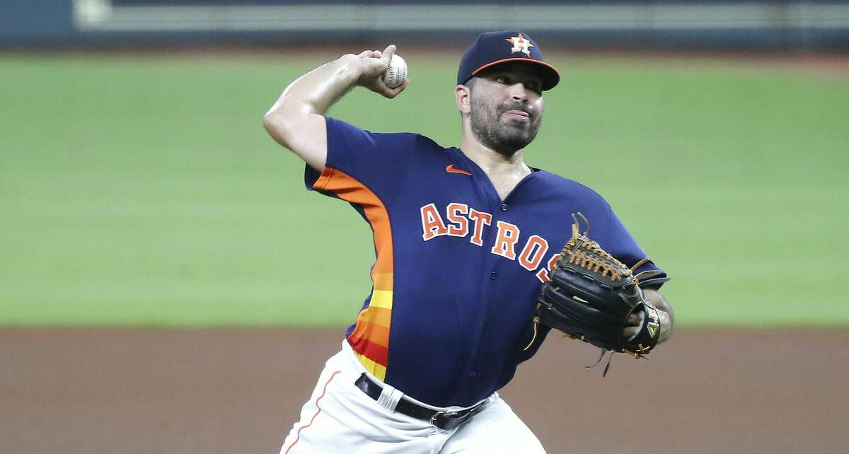 Houston Astros starting pitcher Jose Urquidy (65) pitches during the first inning of an MLB baseball game at Minute Maid Park, Sunday, September 20, 2020, in Houston.