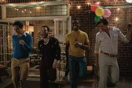 "Jim Parsons, left, Robin De Jesus, Michael Benjamin Washington and Andrew Rannells are among the cast of ""The Boys in the Band."""