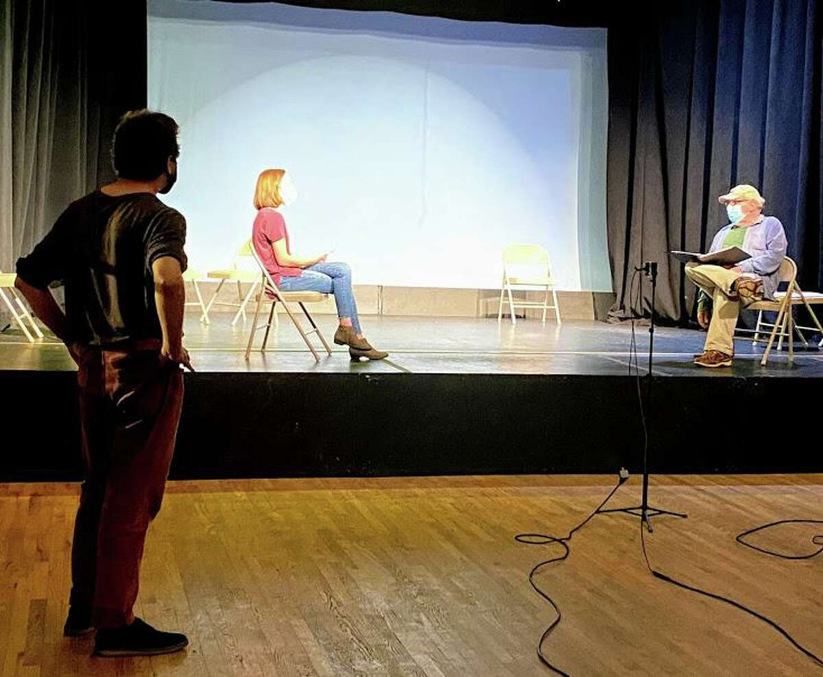 Rehearsal for Frost/Nixon with director, Jeremy Funke, Nicole Neurohr as Frost, and John Atkin as Nixon.