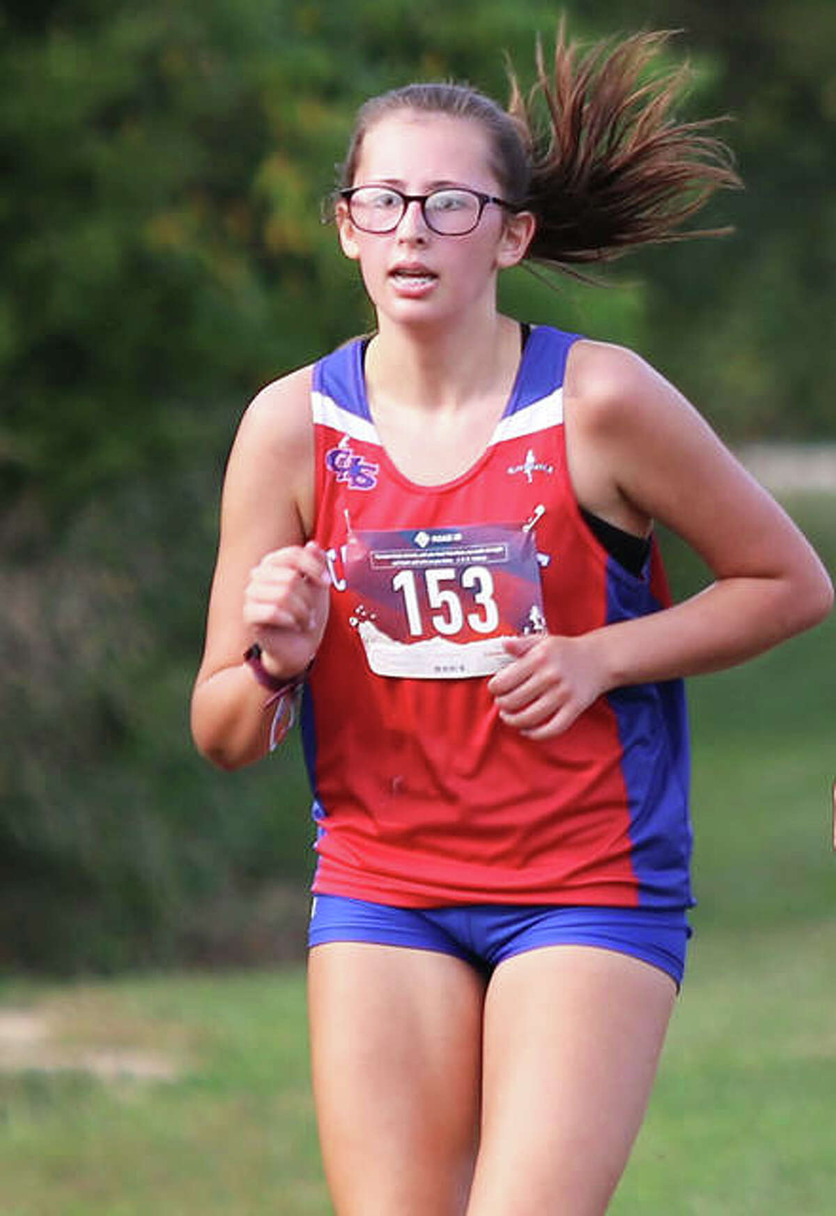 Carlinville's Morgan Carrino, shown at the Staunton Invite on Sept. 15, won the girls race in a three-team meet with Jersey and North Mac on Tuesday at Loveless Park in Carlinville