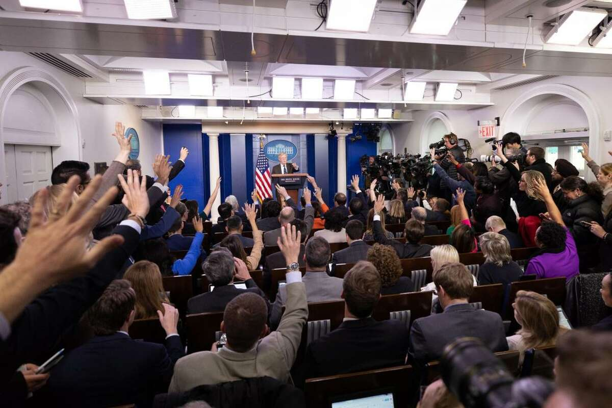 Pictured here is White House National Security Adviser Ambassador John Bolton at a White House press briefing.