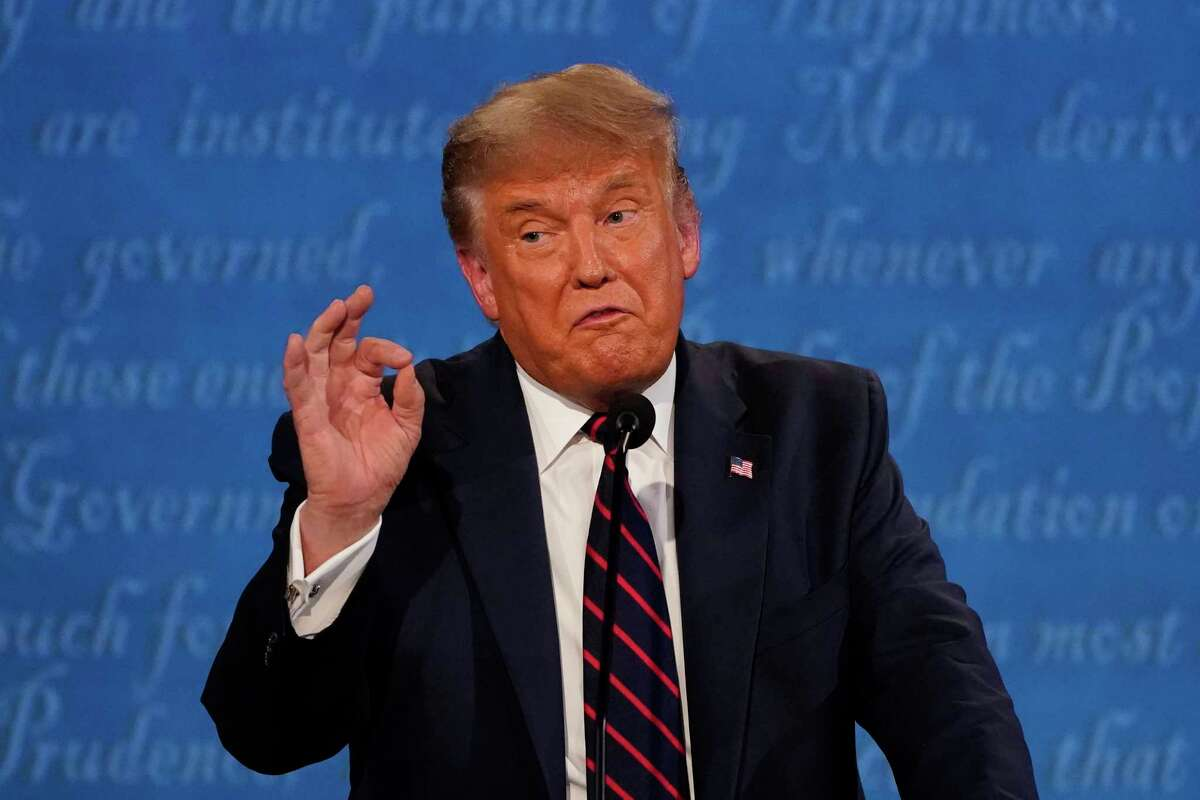 President Donald Trump gestures while speaking during the first presidential debate Tuesday.