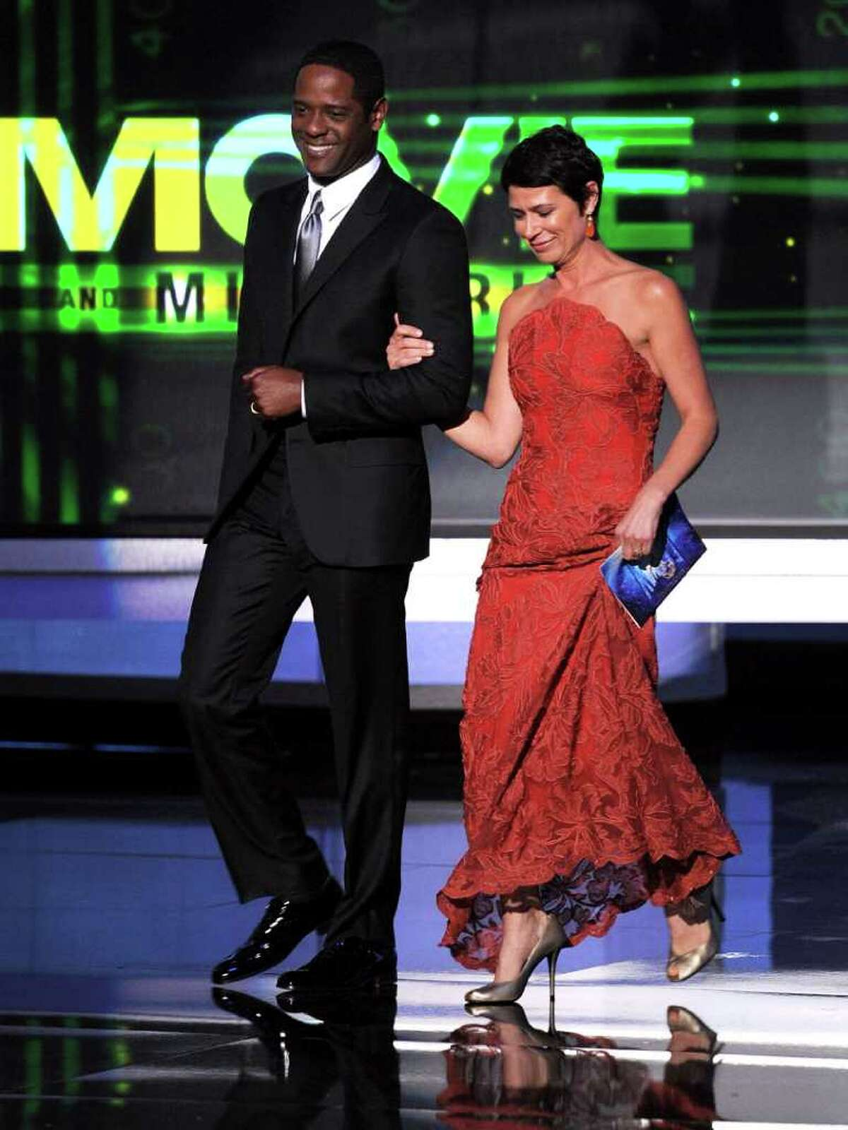 LOS ANGELES, CA - AUGUST 29: Actors Blair Underwood (L) and Maura Tierney speak onstage at the 62nd Annual Primetime Emmy Awards held at the Nokia Theatre L.A. Live on August 29, 2010 in Los Angeles, California. (Photo by Kevin Winter/Getty Images) *** Local Caption *** Blair Underwood;Maura Tierney