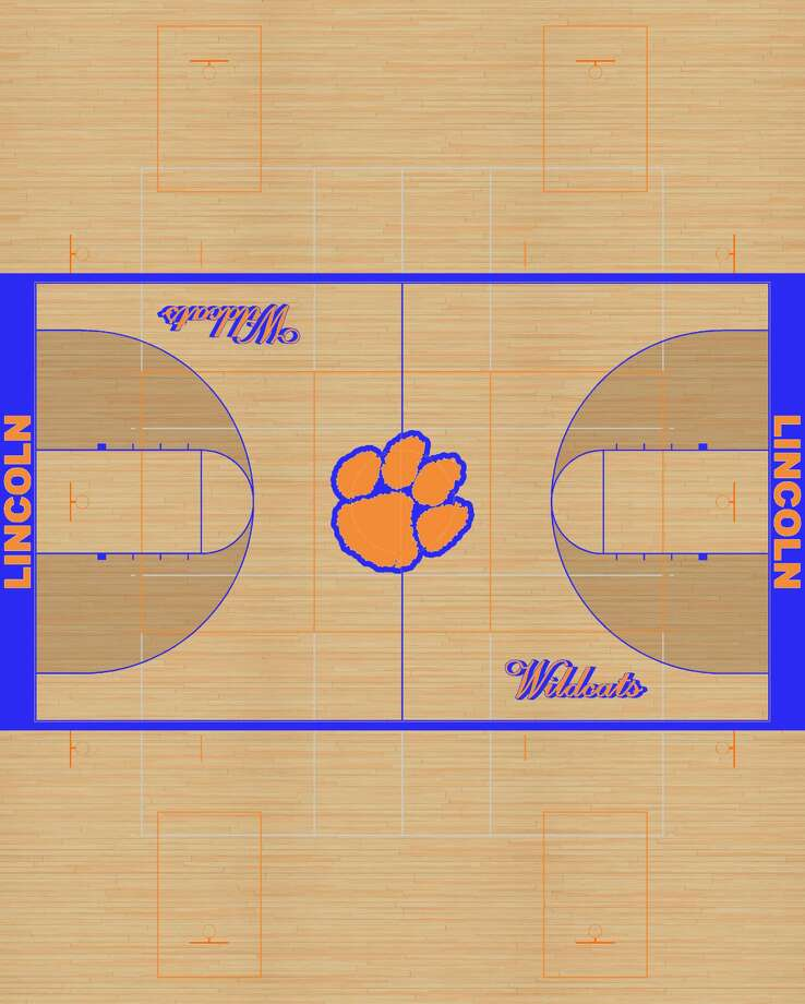 A rendering of the final look of Lincoln Middle School's new gym floor expecting to be finished by Oct. 23. Photo: Courtesy Of District 7