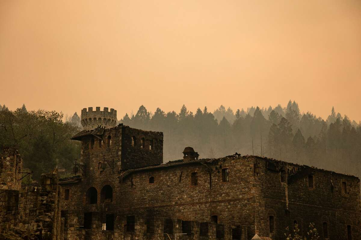 The Farm House at the Castello di Amorosa winery is seen gutted by the Glass Fire in Napa Valley, California on September 29, 2020.