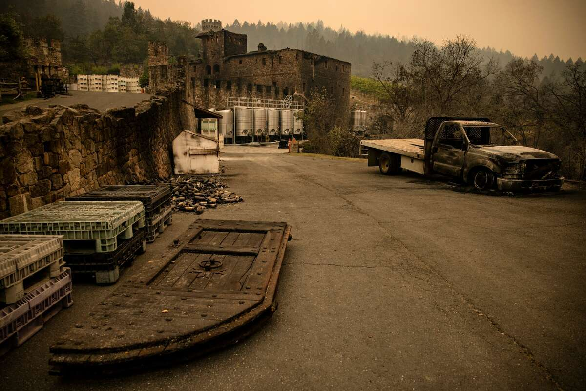 The farmhouse at the Castello di Amorosa winery is seen gutted by the Glass Fire in Napa Valley, Calif., on Sept. 29, 2020. Two California wildfires that ravaged Napa's famous wine region and killed three people exploded in size Tuesday.