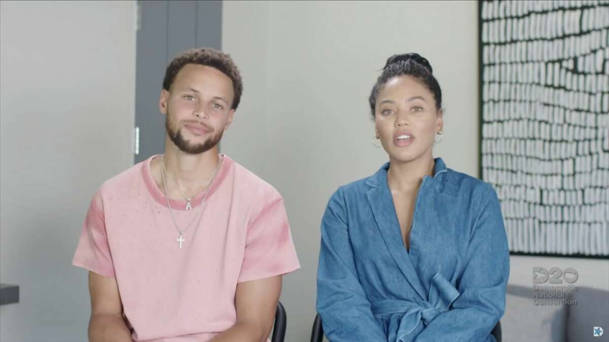 In this screenshot from the DNC livestream of the 2020 Democratic National Convention on Aug. 20, 2020, NBA athlete Stephen Curry and his wife Ayesha Curry address the virtual convention.