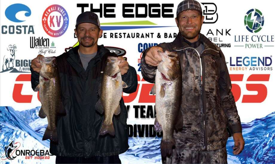 Langston Johnson and Cody Hall won the CONROEBASS Tuesday Night tournament with a stringer weight of 11.02 pounds. Photo: Conroe Bass