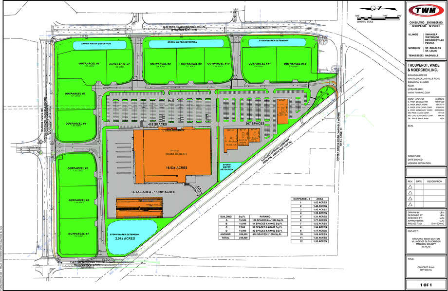 A colored version of the preliminary site plan for Orchard Town Center in Glen Carbon, between Troy Road and Plum Street. Photo: Courtesy Of The Village Of Glen Carbon