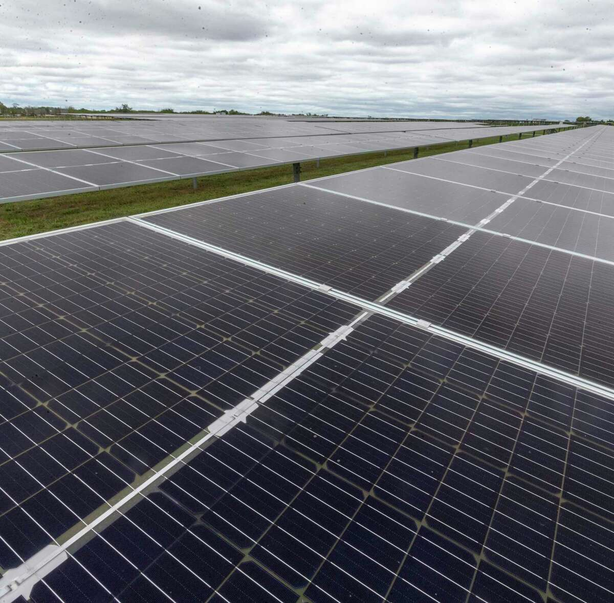 Fields of solar panels at OCI Solar Power's Alamo 1 Solar Farm are seen Sept. 23, 2020