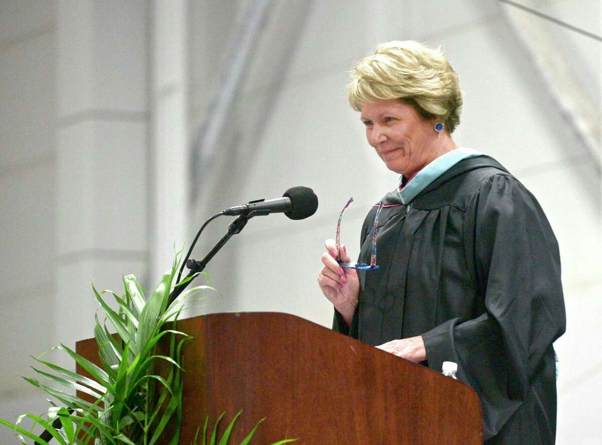 Mary Maloney, President of Immaculate High School, gives welcoming remarks during the Immaculate High School 2019 Commencement. Saturday, June 1, 2019, at the Western Connecticut State University O'Neill Center, Danbury, Conn.