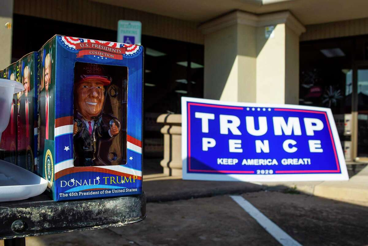 A Donald Trump statuette is for sale outside of a Trump campaign office in Katy, TX, Friday, Sept. 25, 2020.