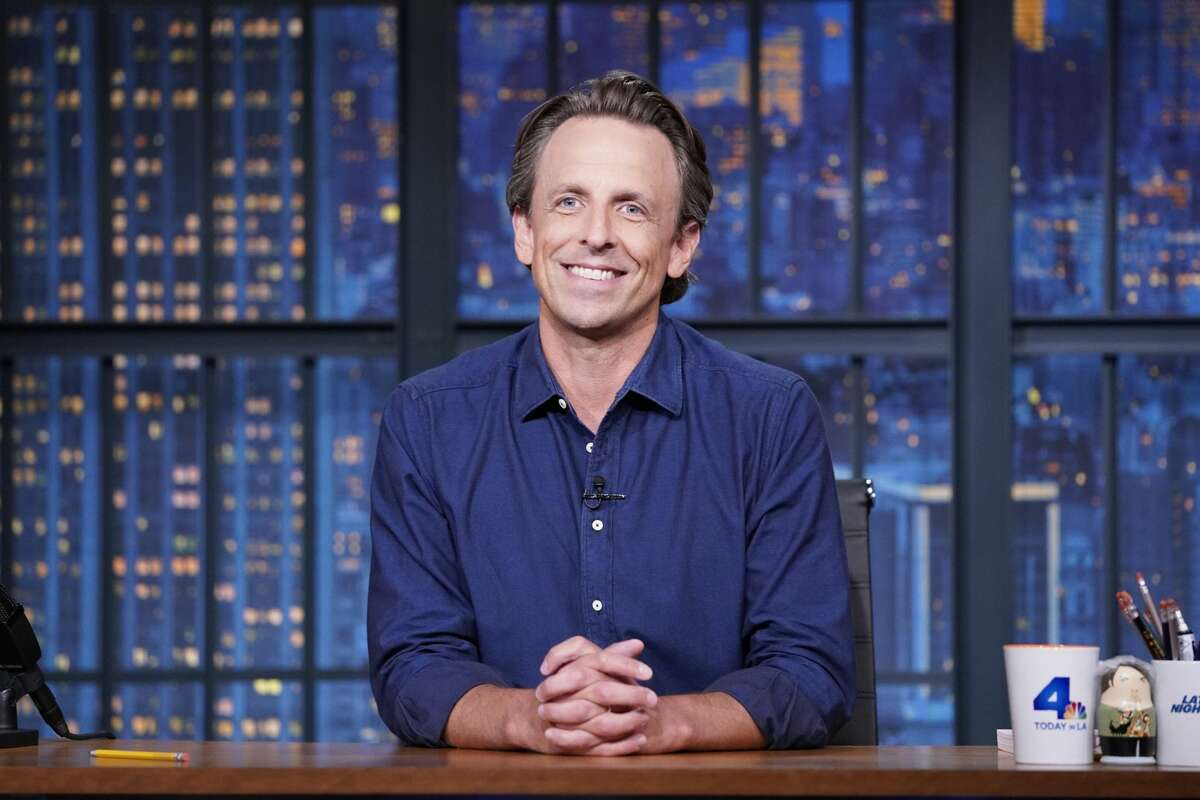 Pictured: Host Seth Meyers during the monologue of