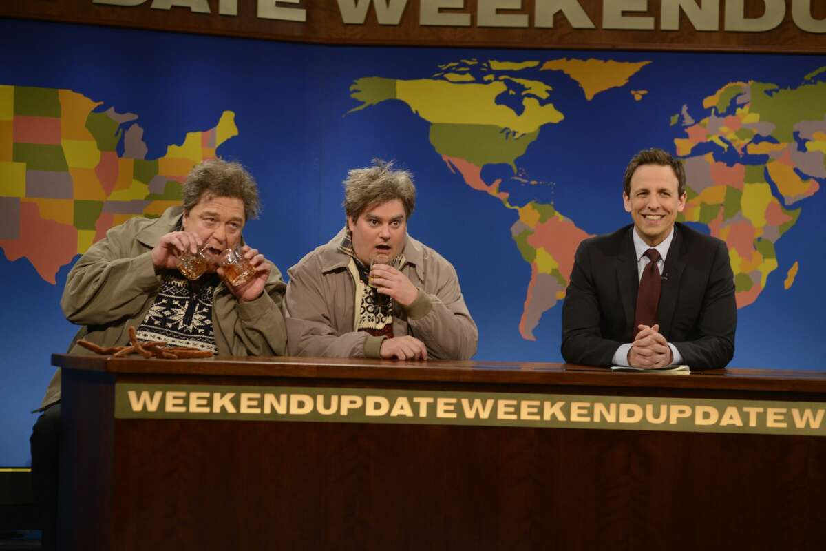 Pictured: (l-r) John Goodman as Drunker Uncle, Bobby Moynihan Drunk Uncle, Seth Meyers during