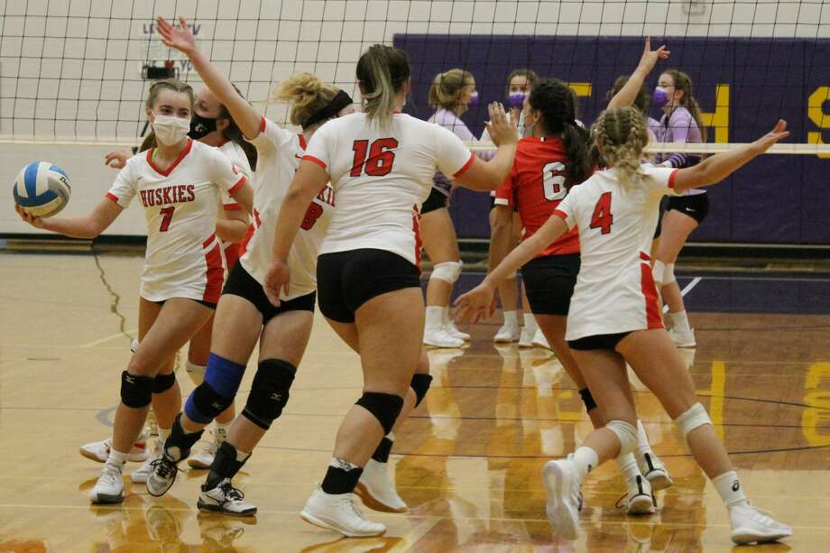 Benzie Central claims its first volleyball victory of the season in a three set sweep of the Frankfort Panthers on Sept. 29. Photo: Robert Myers