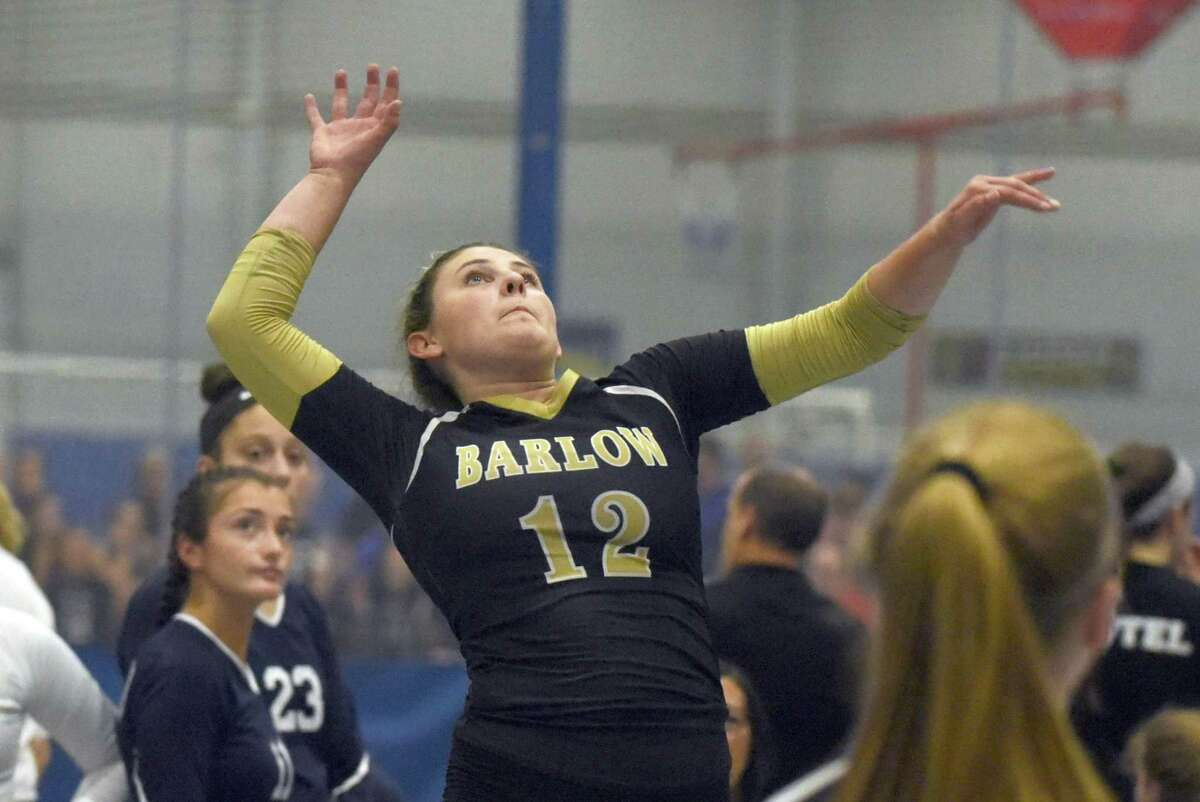 Barlow's Kayleigh Emanuelson goes up for a shot during the CIAC's Early Season Block Party Volleyball Tournament at the CT Sports Center in Woodbridge in 2019.