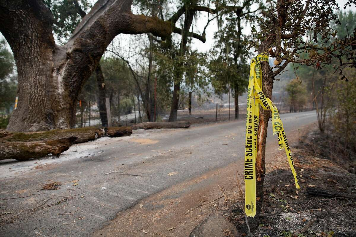 Crime scene tape is tied to a tree in the 200 block of North Fork Crystal Road in Deer Park, Calif. on Wednesday, Sept. 30, 2020. This is in the area that Cal Fire believes is the origin point for the Glass Fire.