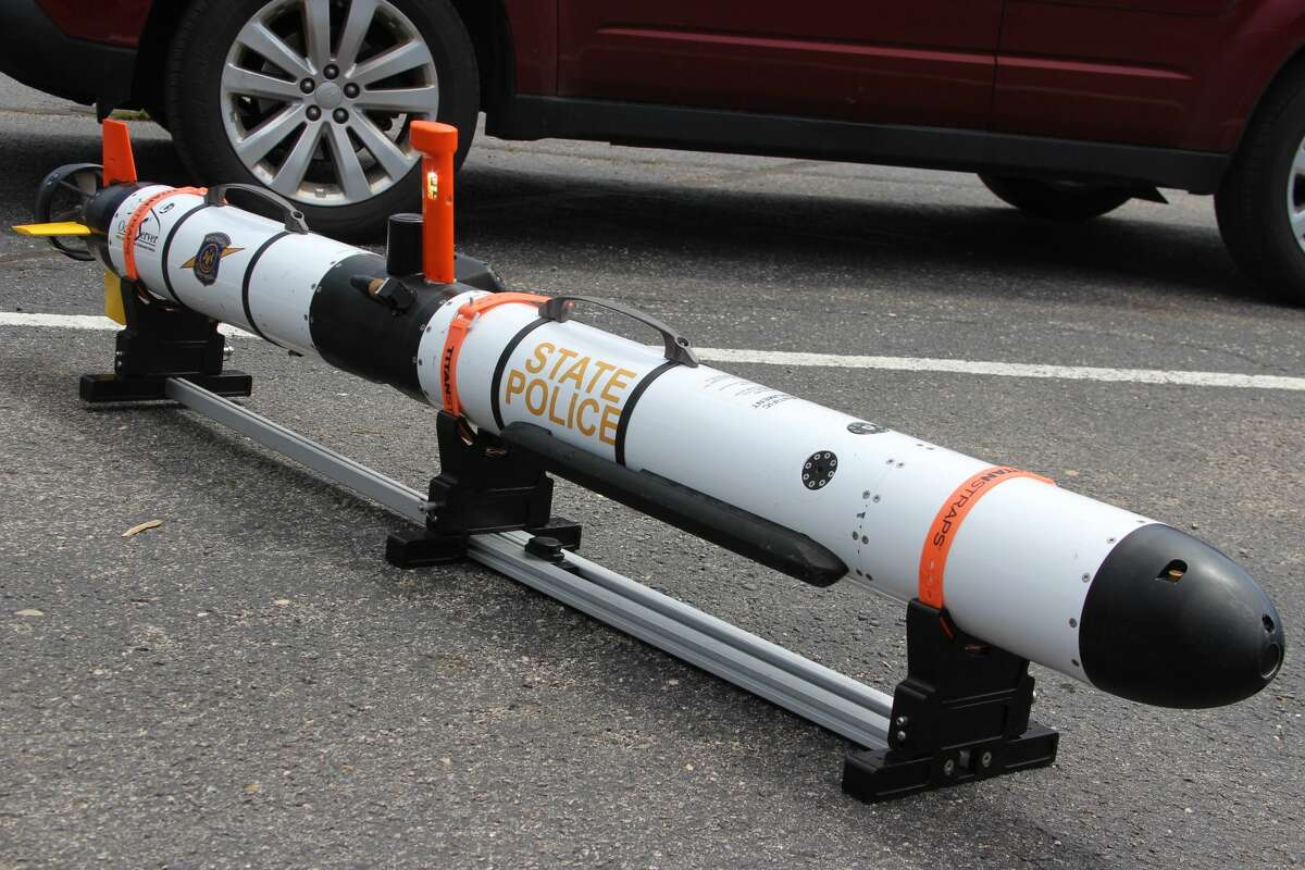 A side-scanning sonar device is used by the Michigan State Police's Marine Services Team to look for objects underwater.