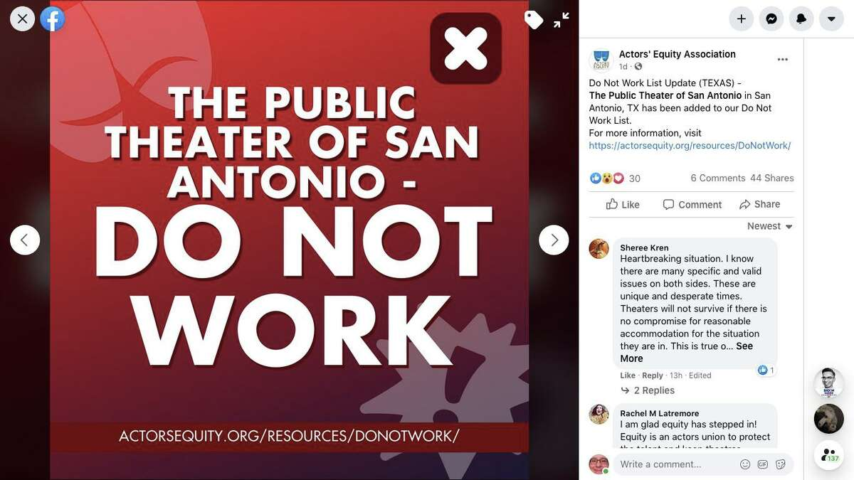"""The Public Theater of San Antonio has been placed on a """"Do Not Work"""" list by the Actors' Equity Association because of safety concerns related to COVID-19."""