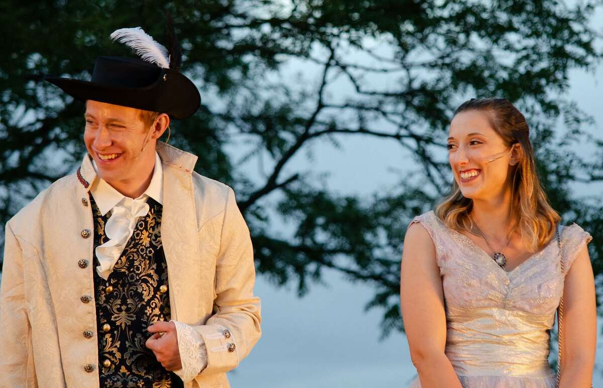Mitchel Kawash and Jessica Breda in Valley Shakespeare Festival's, Cyrano, held this summer at Veteran's Memorial Park in Shelton.
