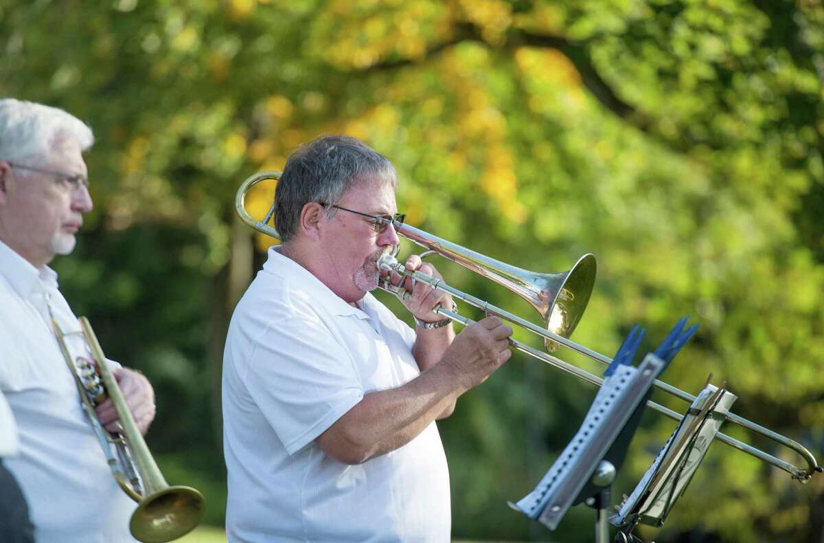 Bob Carlson plays the trombone with the Catoonah Street Jazz & Blues Society at St. Stephen's Nutmeg & Neighbors BBQ on Saturday, September 26, 2020 in Ridgefield, Connecticut. The event was also streamed live on Facebook. Bob Carlson plays the trombone with the Catoonah Street Jazz & Blues Society at St. Stephen's Nutmeg & Neighbors BBQ on Saturday, September 26, 2020 in Ridgefield, Connecticut. The event was also streamed live on Facebook.