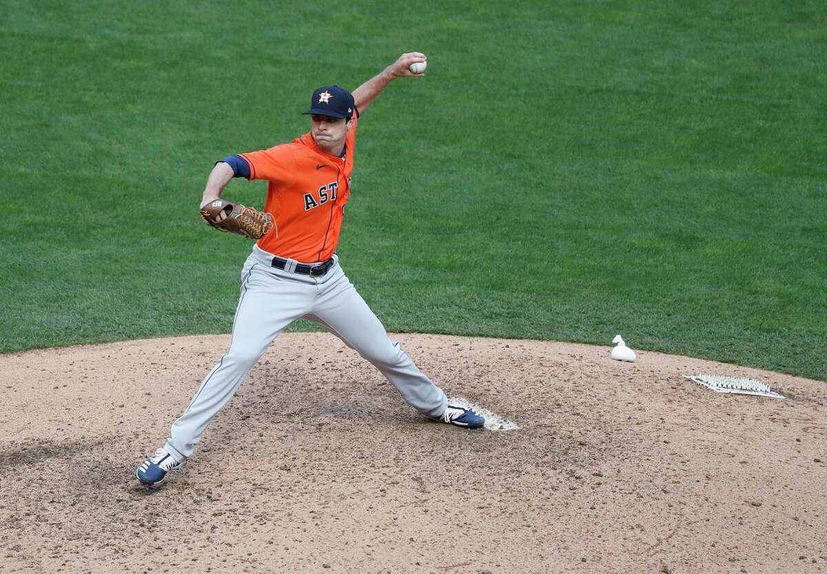 Houston Astros relief pitcher Brooks Raley (58) pitches during the fifth inning of Game 2 of an MLB Wild Card game at Target Field, Wednesday, September 30, 2020, in Minneapolis.