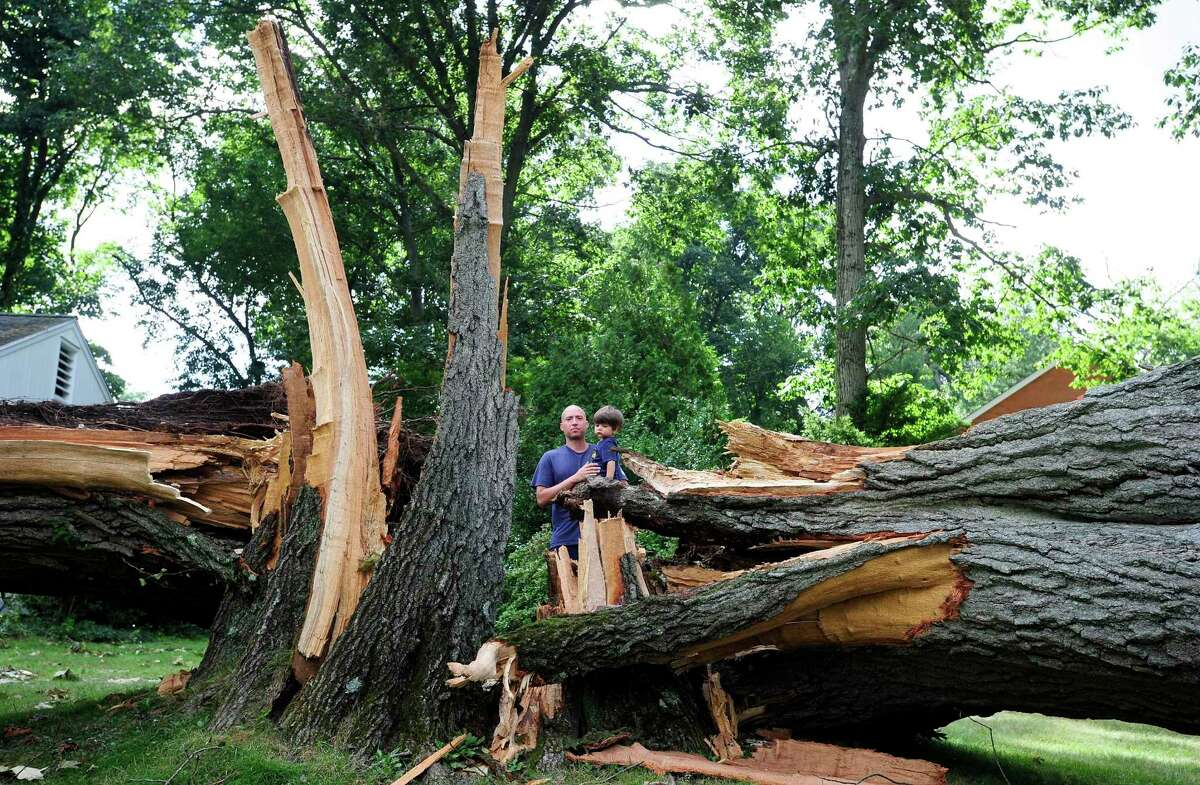 Tyler Maloney holds his one-year-old son Bear while being photograph near a large tree in front of his home on Bertmor Drive in Stamford, Connecticut on August, 8, 2020. The tree fell during Tropical Storm Isaias, cutting power and access to his neighborhood. Maloney and several of his neighbors are upset and concern over the lack of response from both Eversource and the City of Stamford in clearing the tree and opening up the roadway.