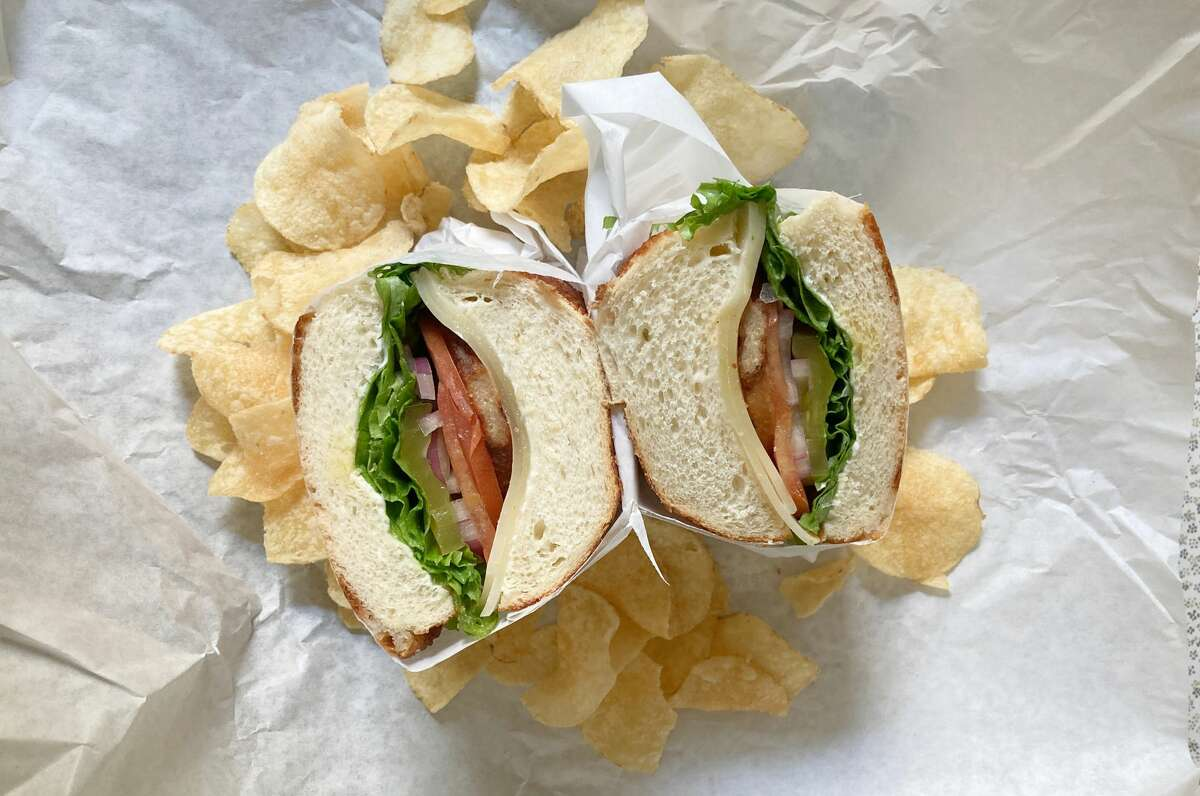 The vegetarian chicken steak sandwich from Love N Haight Deli.