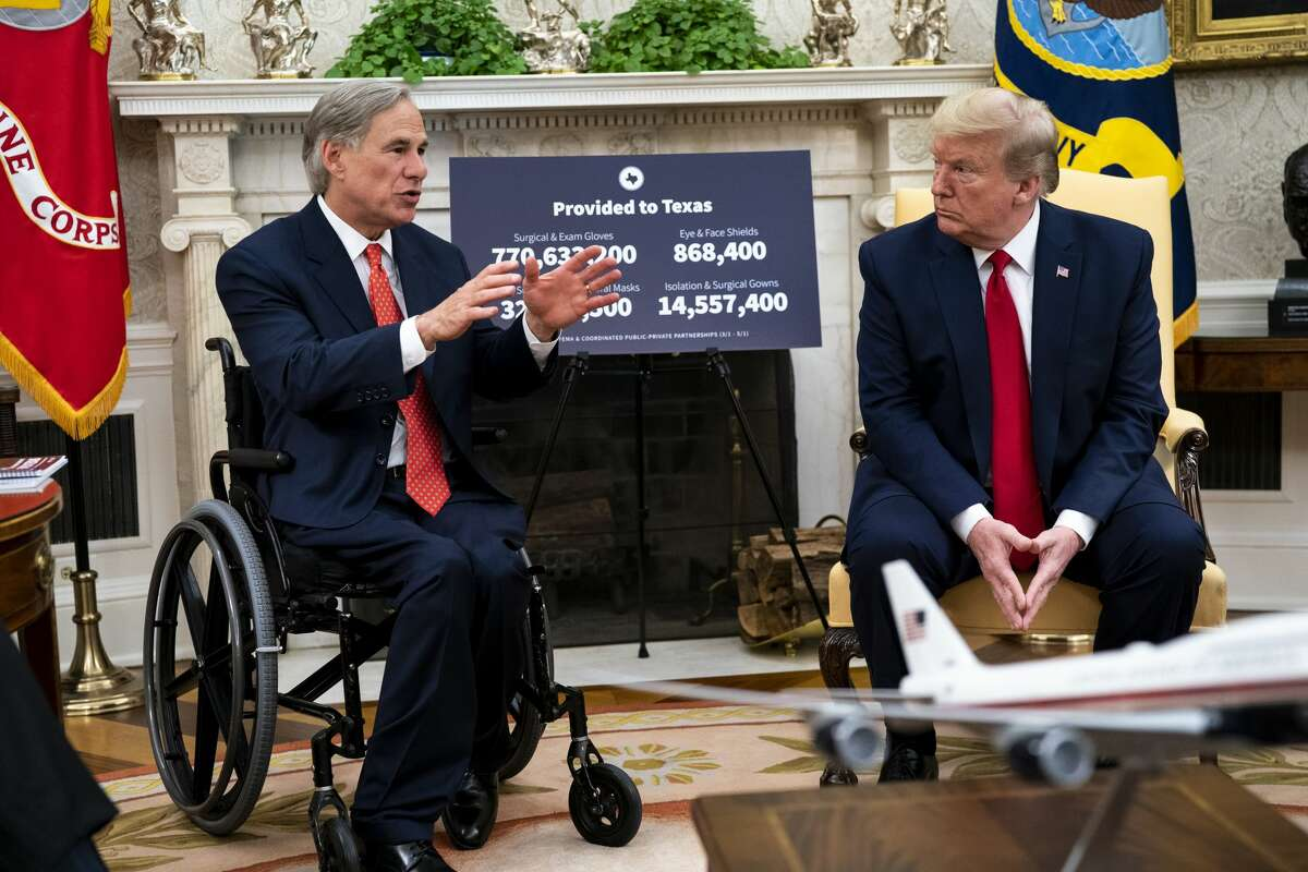 President Donald Trump praised Gov. Greg Abbott's response to COVID-19 in the Oval Office on May 7.