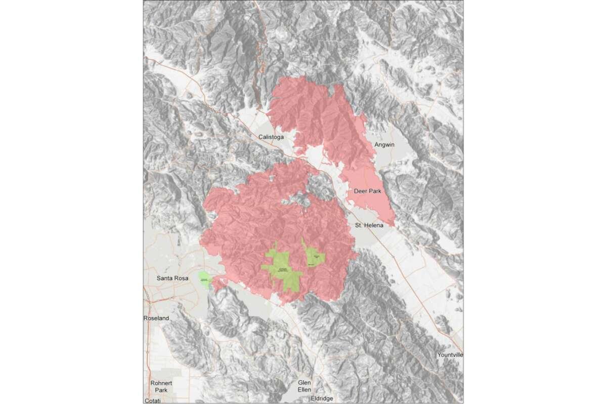 Cal Fire released a perimeter map of the Glass Fire in Sonoma and Napa counties on Oct. 1, 2020.