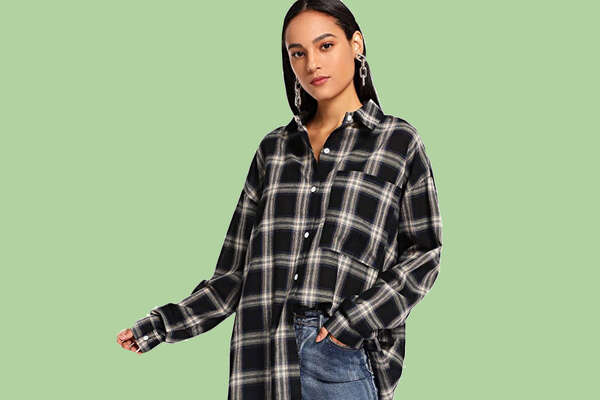 SweatyRocks Women's Long Sleeve Collar Long Button Down Plaid Shirt, Starting at $19.99