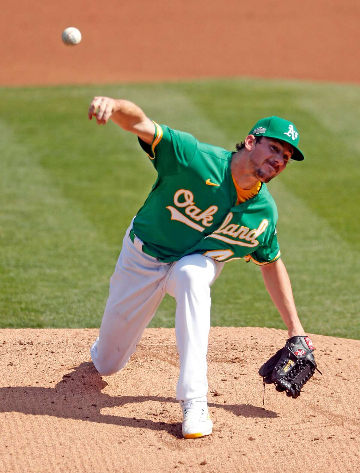 Oakland Athletics' Chris Bassitt pitches in 1st inning against Chicago White Sox during American League Wild Card Series Game 2 at Oakland Coliseum in Oakland, Calif., on Wednesday, September 30, 2020.