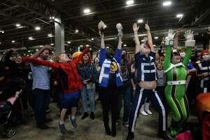 Attendees enjoy Beaumont's first Comic Con gathering Saturday at Ford Park. Cosplayers, comic book fans and more filled the arena, taking in presentations and vendors offering items ranging from classic comics and collectibles to present day characters. The event continues Sunday. Photo taken Saturday, November 9, 2019 Kim Brent/The Enterprise
