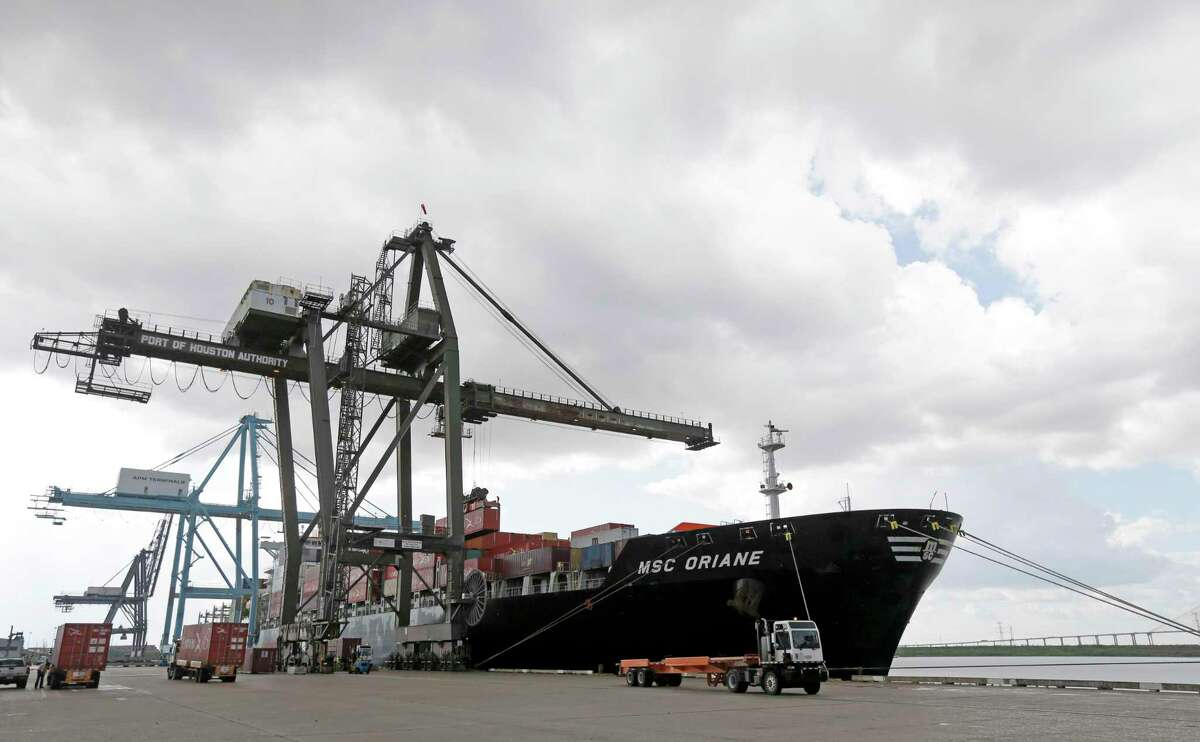 A ship calls on the Port of Houston's Barbours Cut Container Terminal.