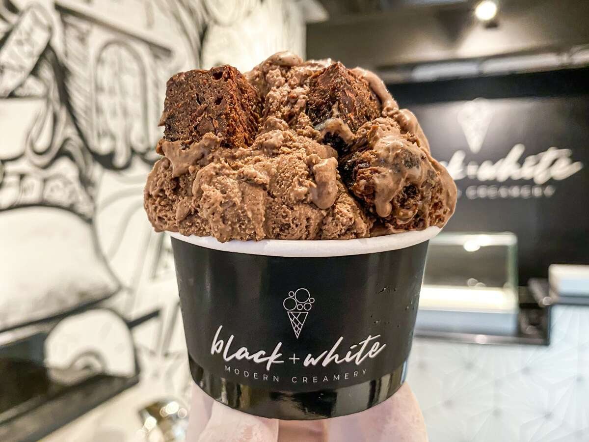 Black + White's brownie batter ice cream made with Chocollazo chocolate chip brownies.