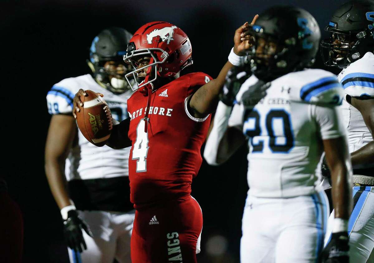 North Shore quarterback Dematrius Davis (4) signals after running for a first down against Shadow Creek during the first half of the game at Galena Park ISD Stadium on Friday, Sept. 25, 2020, in Houston.