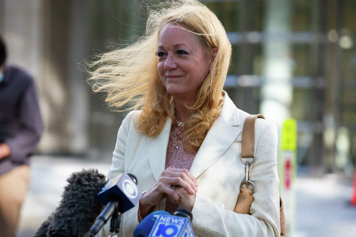 Barbara Bouchey, a former member of the NXIVM group, speaks to members of the media outside federal court in the Brooklyn borough of New York, U.S., on Wednesday, Sept. 30, 2020. Clare Bronfman, an heiress to theSeagram Co.liquor fortune, was sentenced to 81 months in prison for her role in securing female victims for theNxivmsex cult founded byKeith Raniere. Photographer: Paul Frangipane/Bloomberg